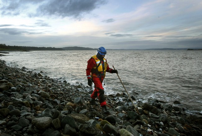 A Coastguard officer searches the shoreline near Crammond, after three-year-old Mikaeel Kular went missing from his home in Ferry Gait Crescent, Edinburgh.