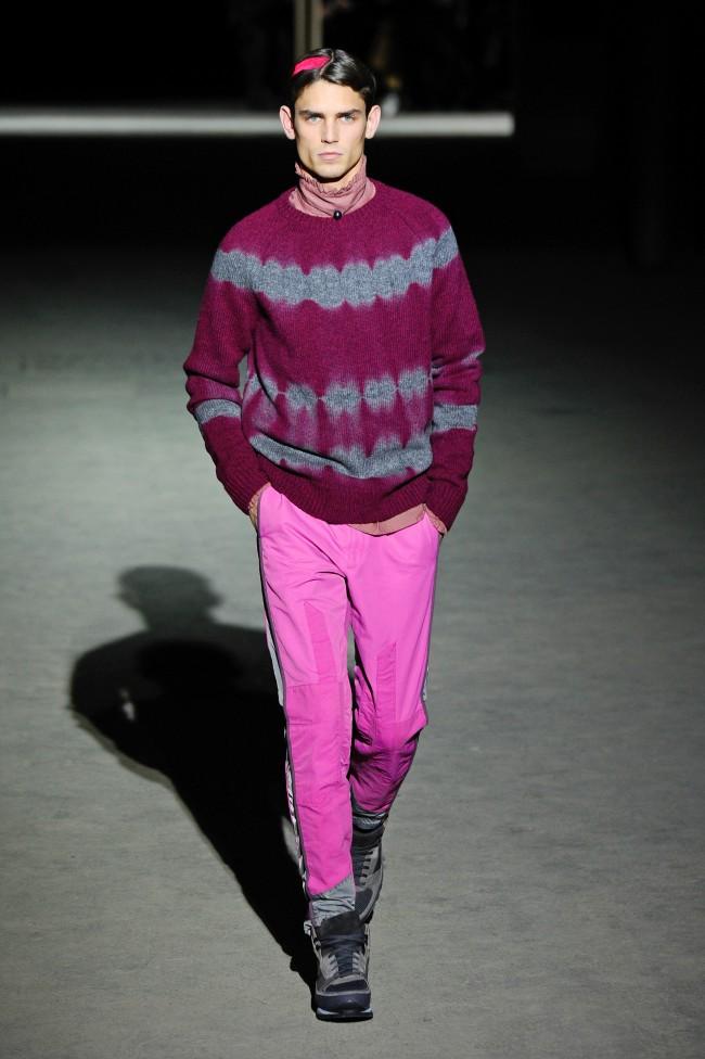 A model presents a creation as part of Dries Van Noten men's Fall-Winter 2014-2015 fashion collection, presented Thursday, Jan. 16, 2014 in Paris. (AP Photo/Zacharie Scheurer)