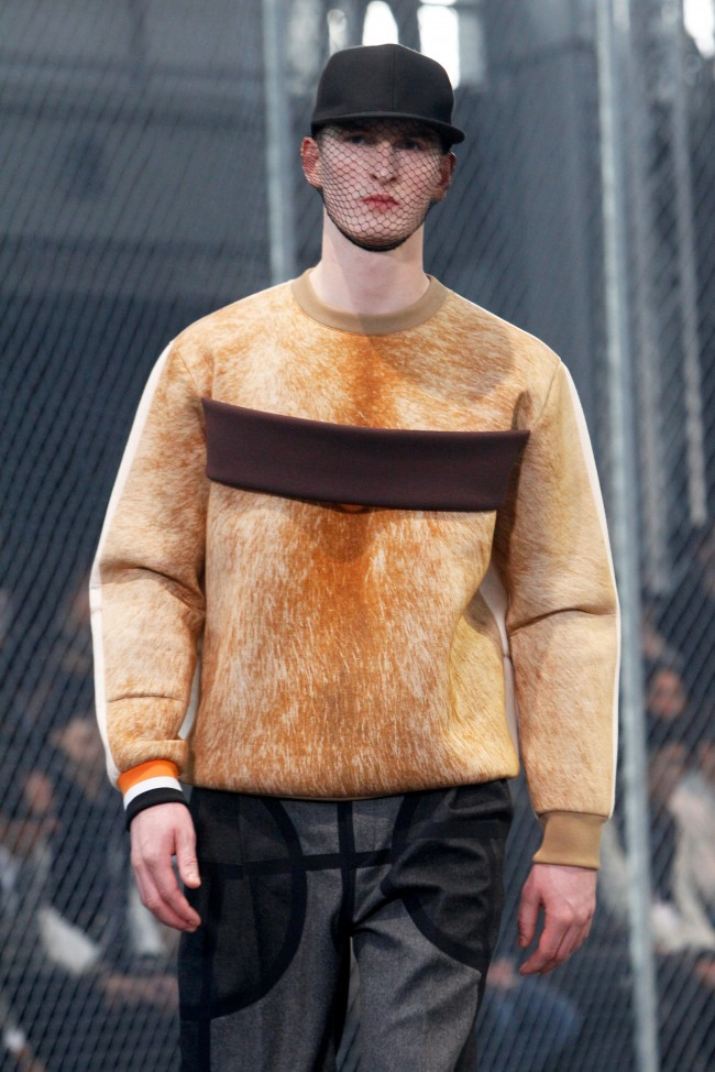 A model presents a creation as part of Givenchy men's Fall-Winter 2014-2015 fashion collection, presented Friday, Jan. 17, 2014 in Paris. (AP Photo/Thibault Camus)