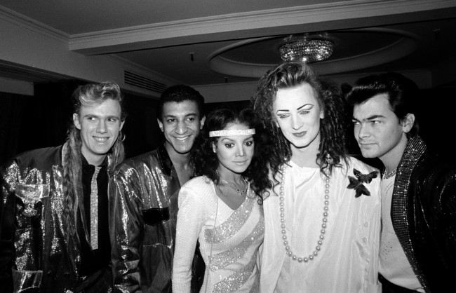 Boy George and his band Culture Club with Michael Jackson's sister Latoya. The band won Best British Group and Best Selling Single for 'Karma Chamleon'. Latoya was there to collect the award for Best Selling Album for her brother for 'Thriller'.