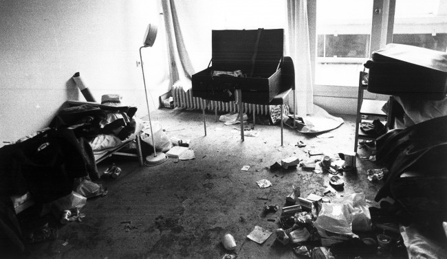 Blood stains mark the place where armed Palestinian terrorists killed 11 Israeli Olympic team members, after keeping them hostage for almost 18 hours. Munich, Sep. 6, 1972. (AP Photo)