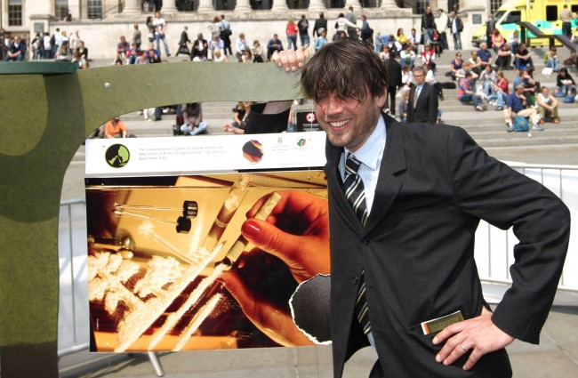 Blur bassist Alex James at an exhibition showing the environmental effects of cocaine production on Colombia, in Trafalgar Square, London. Picture Date: Wednesday May 21, 2008. Alex James, who recently filmed a documentary on Columbia's cocaine trade, launched the exhibition with Vice President of Columbia Francisco Santos and Home Office Minister Vernon Coaker. Watch for PA story POLITICS Cocaine. Photo credit should read: Dominic Lipinski/PA
