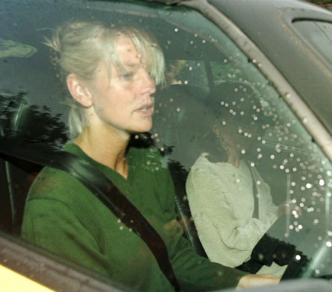 Ulrika Jonsson, pictured in her car near her Cookham Dean home the morning after she was attacked by boyfriend Stan Collymore in a Paris bar Date: 09/06/1998