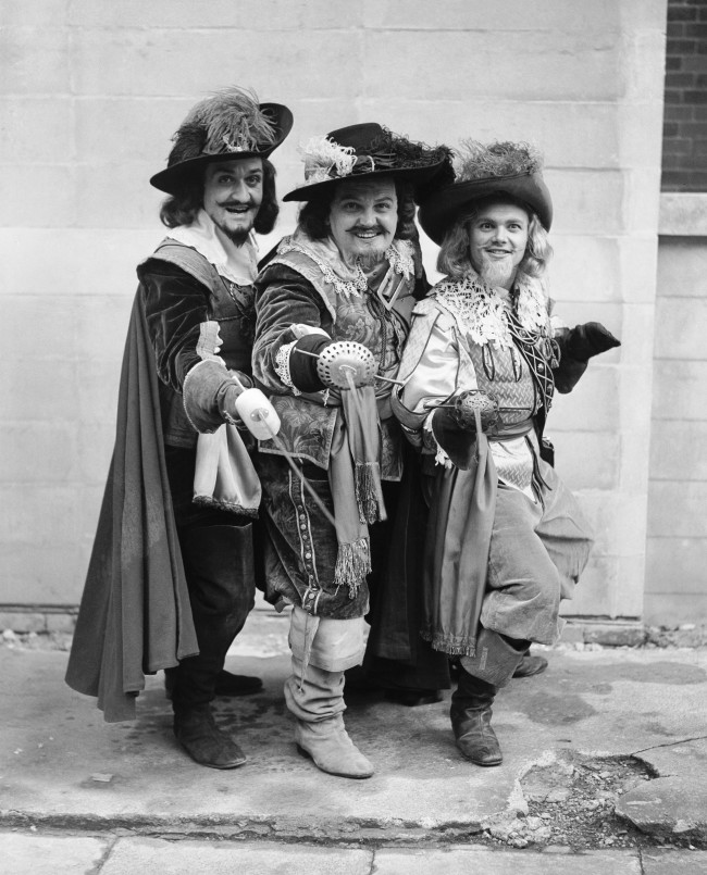 Left to right; Roger Delgado (Athos), Paul Whitsun-Jones (Porthos) and Paul Hansard (Aramis) in The Three Musketeers.
