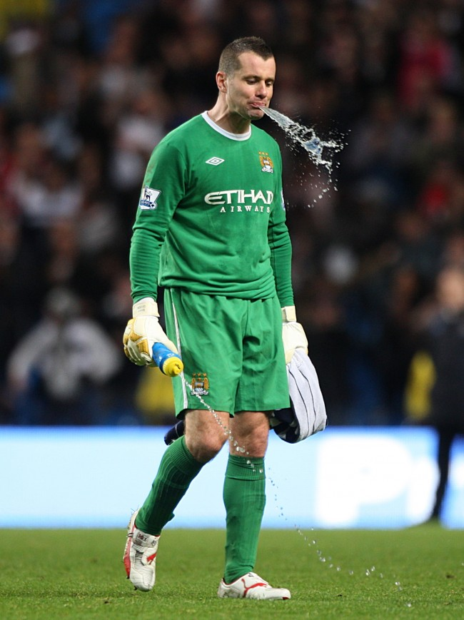 Manchester City goalkeeper Shay Given looks dejected after the final whistle