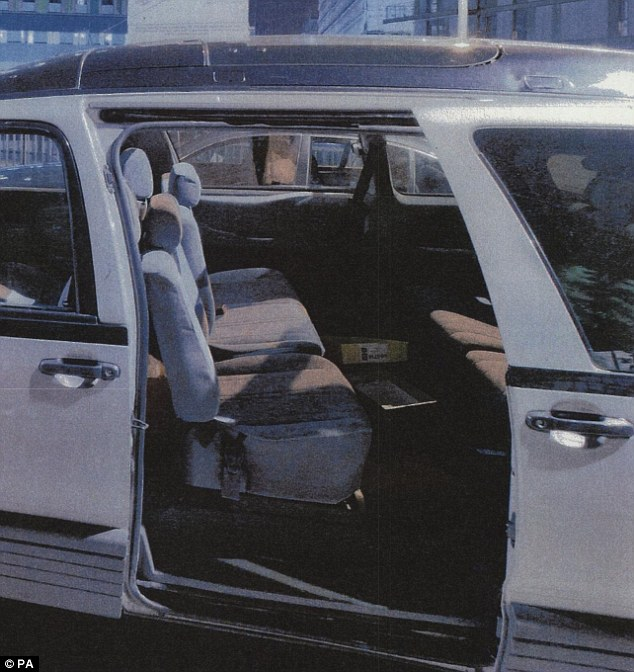 A photograph of the taxi which Mark Duggan was travelling in on the night he was shot in Tottenham. The jury were told they must decide whether the gun was planted on him by police