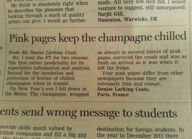 finanacial times champagne Letter Of The Day: The Financial Times Is Best For Keeping Champagne Cold