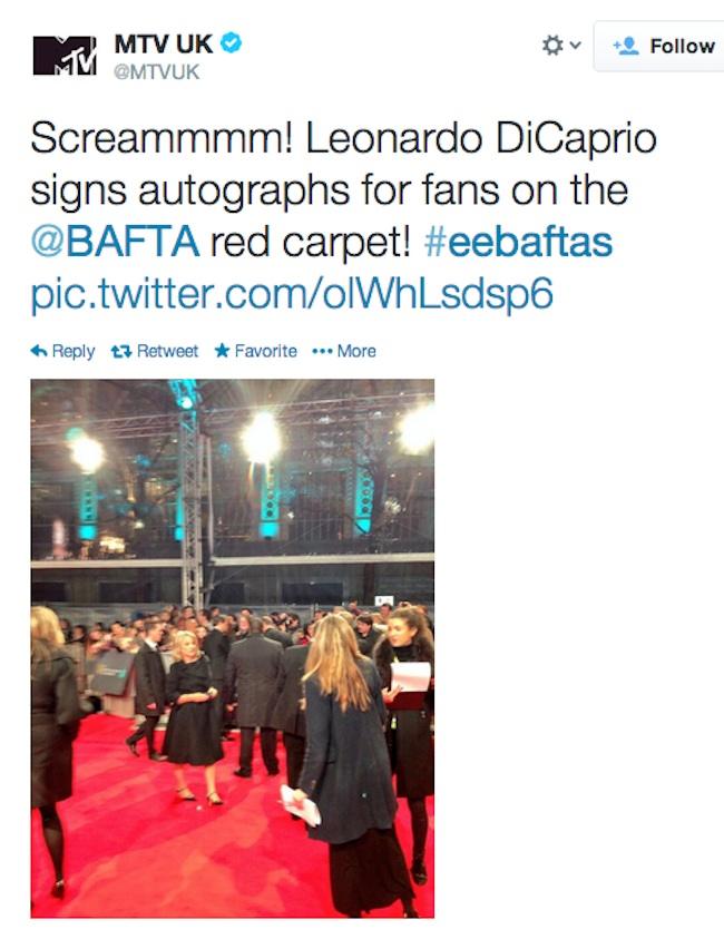 MTV terrible baftas leo
