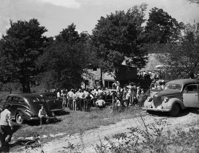 Snake handler cult is shown during service of the Church of God on Virginia-Kentucky state line at Harlan, Kentucky, Sept. 12, 1948.