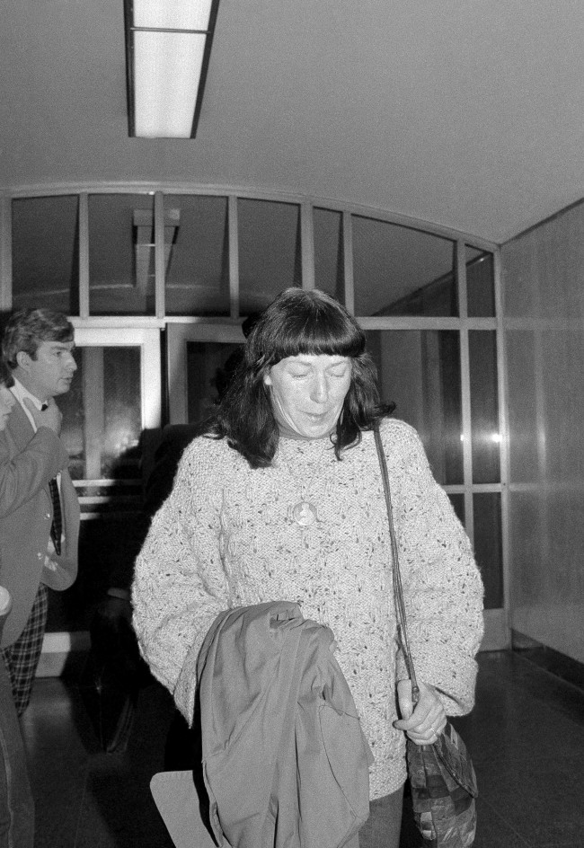 Anne Beverley, mother of punk rock star John Simon Ritchie, also known as Sid Vicious, leaves State Supreme Court in New York, Dec. 8, 1978, in tears after a judge revoked the $50,000 bail of her son. The judge ordered Ritchie imprisoned without bail following his arrest on charges of assaulting a concert patron with a broken beer mug. (AP Photo/Marty Lederhandler)