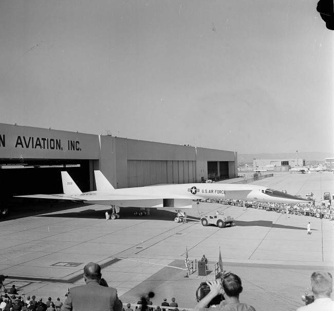 The XB-70A is rolled out for the press, making its first public appearance from the North American Aviation hangars in Palmsdale, Calif., May 11, 1964. The plane is 184 feet long and has a wing span of 105 feet.