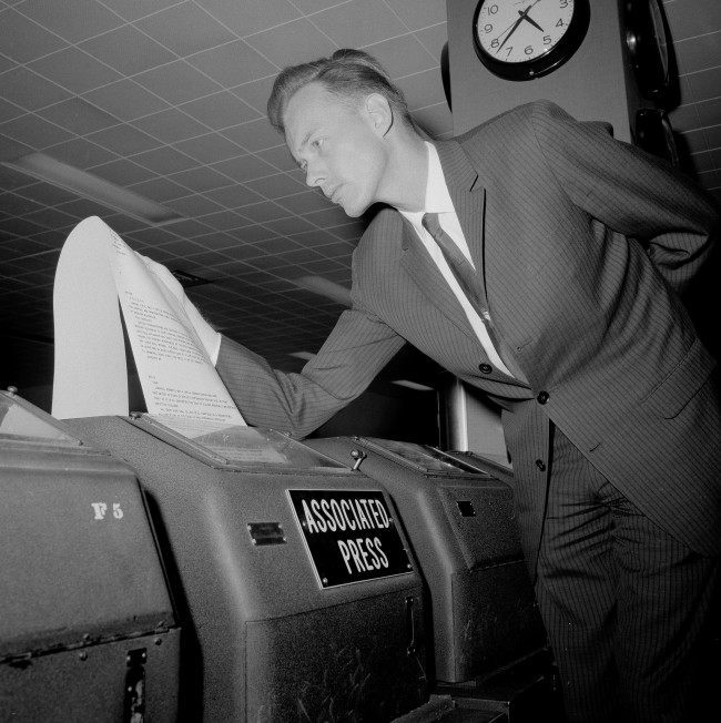 - In this May 4, 1964, file photo, AP Saigon correspondent Malcolm Browne, home on leave, looks over teletype copy at the AP offices in New York, following the announcement that he won a Pulitzer Prize award, for international reporting. Browne, acclaimed for his trenchant reporting of the Vietnam War and a photo of a Buddhist monk's suicide by fire that shocked the Kennedy White House into a critical policy re-evaluation, died Monday night, Aug. 27, 2012 at a hospital in New Hampshire, not far from his home in Thetford, Vt. He was 81.