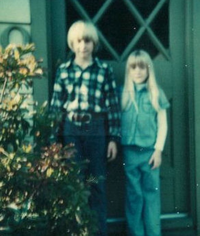 Kurt Cobain's sister, shows a young Kurt Cobain, left, and Kim