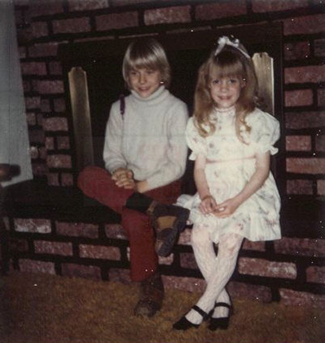 Kurt Cobain's sister, shows a young Kurt Cobain, left, and Kim in their childhood home in Aberdeen, Washington, USA.