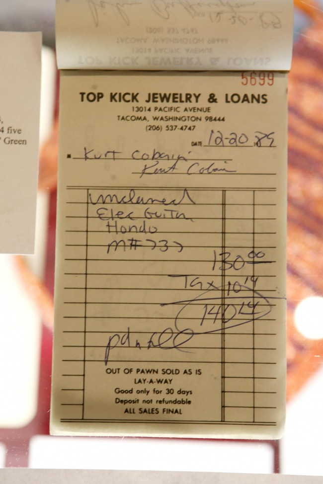 A receipt from a pawn shop signed by Kurt Cobain on display at the Clarence Hotel in Dublin