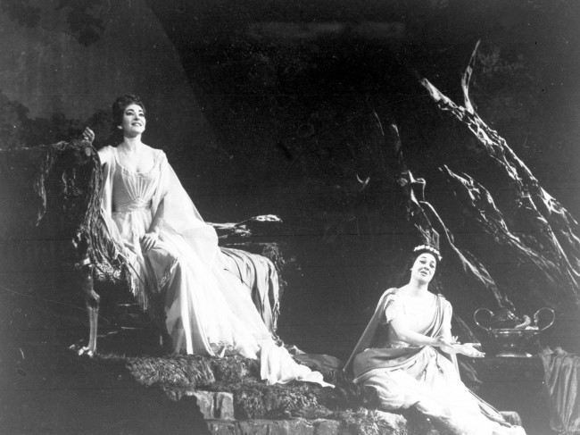"Greek opera star Maria Callas, left, rehearses the title role of Bellini's ""Norma"" for the gala production at the Opera House, Paris, May 22, 1964. Italian opera star Fioenza Cossotto, right, portrayed the role of Adalgisa. (AP Photo)   Date: 22/05/1964"
