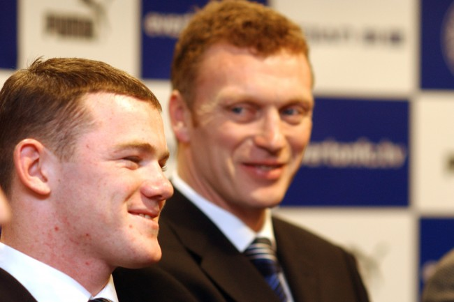 Everton Manager David Moyes looks happy after teenage Wayne Rooney signs his first professional contract  Date: 17/01/2003