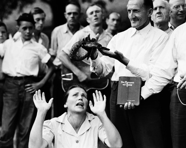 "Members of the Pentecostal Church of God, a faith healing sect, surround a woman who has ""Got the Spirit "" as a man holds a snake above her head in Evarts, Ky., Aug. 22, 1944. Although a Kentucky statute passed in 1940 forbids the handling of snakes in connection with religious services, this sect revived the ritual after the recent death of native of the region who was bitten by rattlesnake."