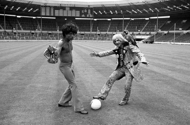 PA 6694176 1972: Little Richard And Screaming Lord Sutch Play Football At Wembley Stadium