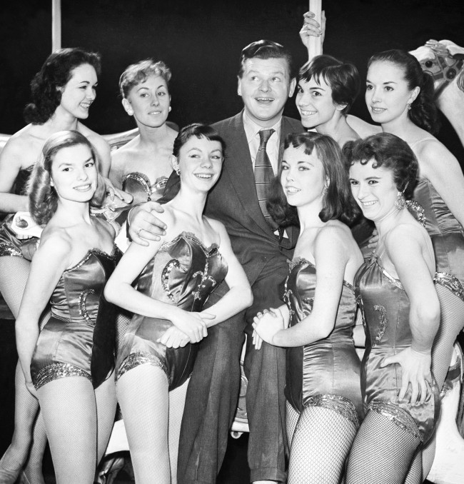 Benny Hill with dancers for the BBC TV programme 'The Benny Hill Show', January 1955. PA/PA Archive/Press Association Images