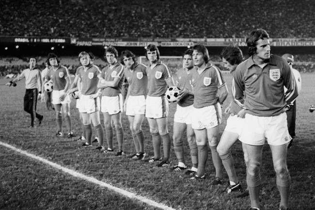 Soccer - Friendly - Brazil v England - Maracana Stadium England team group line up before the kick off. (l-R) Brian Talbot, Emlyn Hughes, Brian Greenhoff, Phil Neal, Trevor Francis, Dave Watson , Ray Wilkins , Stuart Pearson, Trevor Cherry and Ray Clemence   Date: 08/06/1977