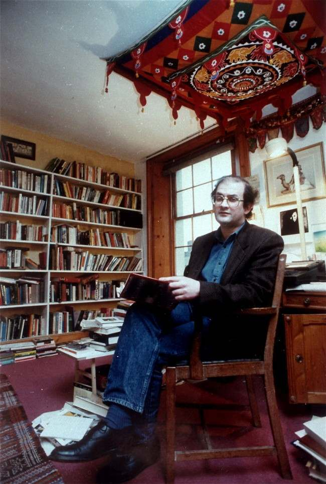 Indian-born writer Salman Rushdie, author of The Satanic Verses, shown in his London study on Jan. 31,1988