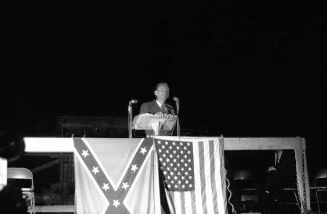 Robert Shelton KKK leader speaking to group at McComb May 30, 1964