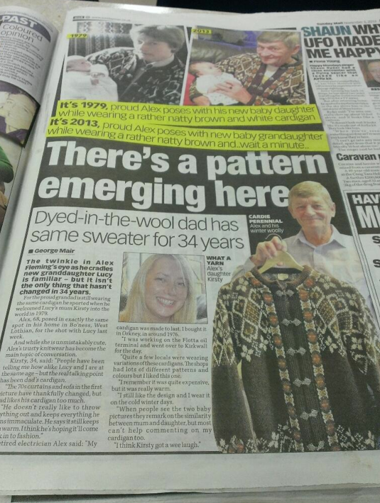Pam Hopkins is still wearing the same cardigan after 54 years - and she says it's never lost a button  Read more: http://www.southwales-eveningpost.co.uk/Cardigan-worn-54-years/story-20550604-detail/story.html#ixzz2sOSO8Y11