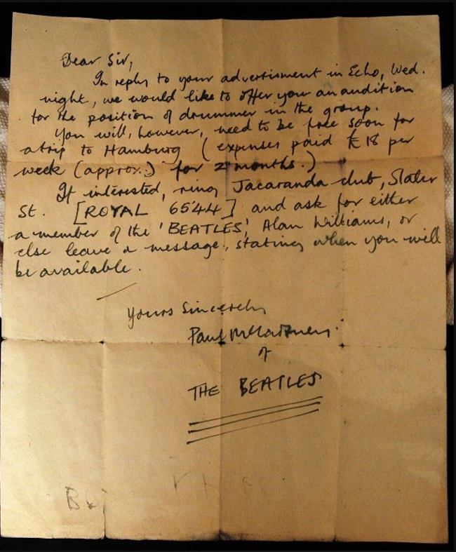Letter from Paul McCartney written in 1960 to a possible drummer for the Beatles. Pete Best got the job in the end.