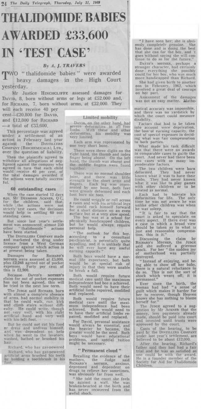 july 31 1969 telegraph 1968 In Photos: The High Court Agrees Meagre Compensation For Thalidomide Victims