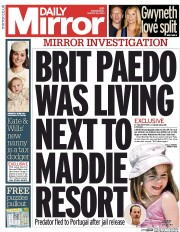 Daily Mirror 26 3 2014 Madeleine McCann: Daily Mirror Presents 2006 News of The World David Reid Story As Its Own Scoop
