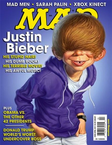 Justin Bieber on MAD Magazine 15 Things Mad Magazine Gave The World