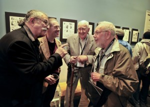 Mad Magazine cartoonist Sergio Aragones, left, Jack Davis and Al Jaffee, right, speak with Savannah College of Art and Design professor John Larison, second from the left, during an event hosted by SCAD and the National Cartoonists Society, Friday, Oct. 11, 2011 in Savannah, Ga.