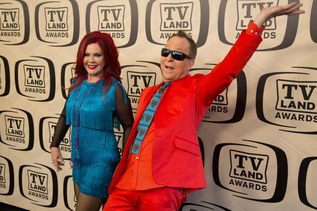 Members of The B-52's Kate Pierson and Fred Schneider arrive to the TV Land Awards 10th Anniversary in New York, Saturday, April 14, 2012.