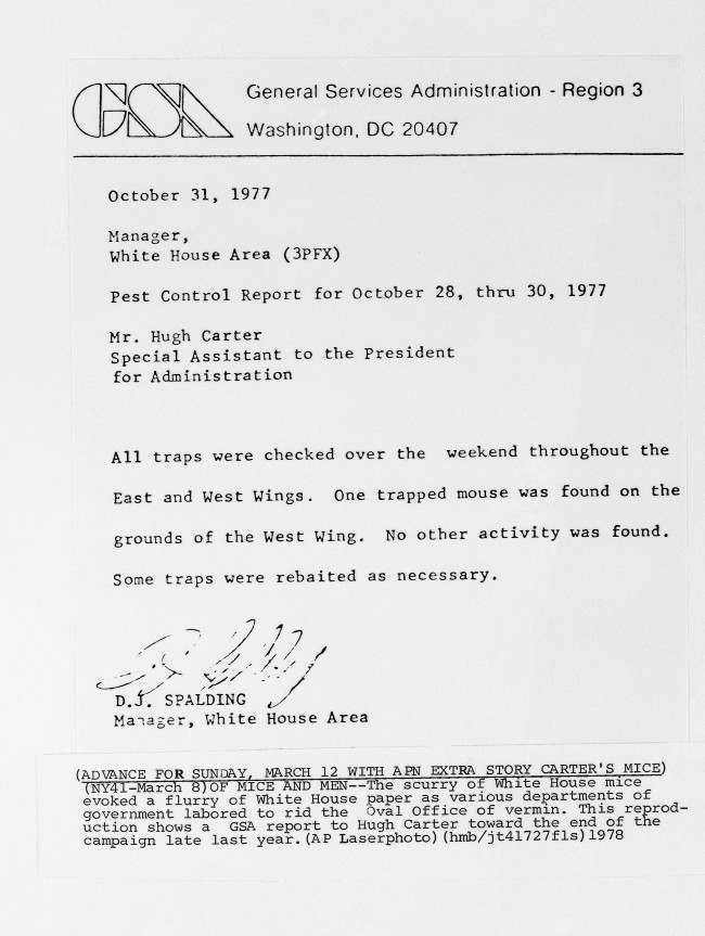 PA 14059277 1 1978 Letter About Vermin In Jimmy Carters White House