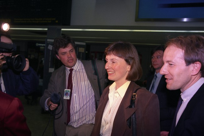 Britain's first astronaut Helen Sharman and her colleague Major Tim Mace arrive at Heathrow Airport from Moscow, Date: 07/06/1991