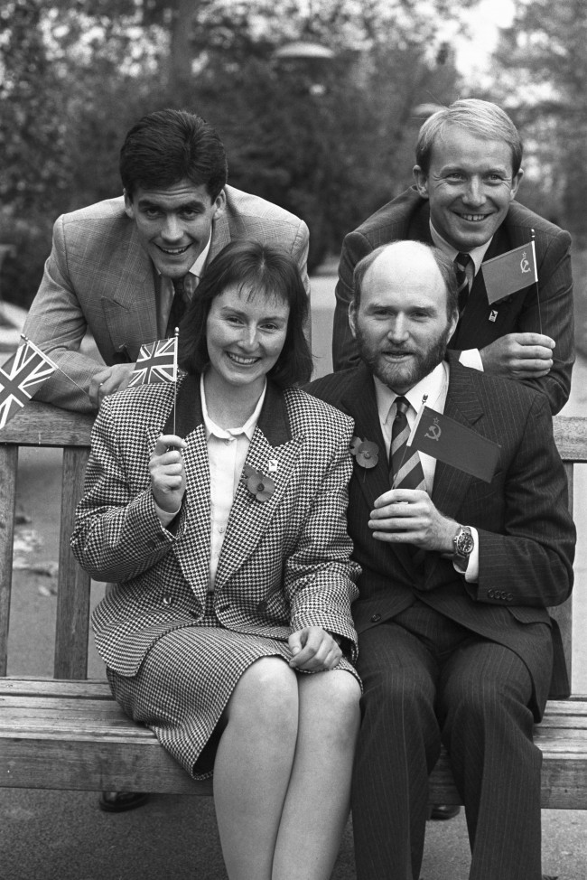 The final four candidates to be the first Britain into space in the Juno Space Mission in Russia. From top left, clockwise: Clive Smith, Major Timothy Mace, Gordon Brooks and Helen Sharman.