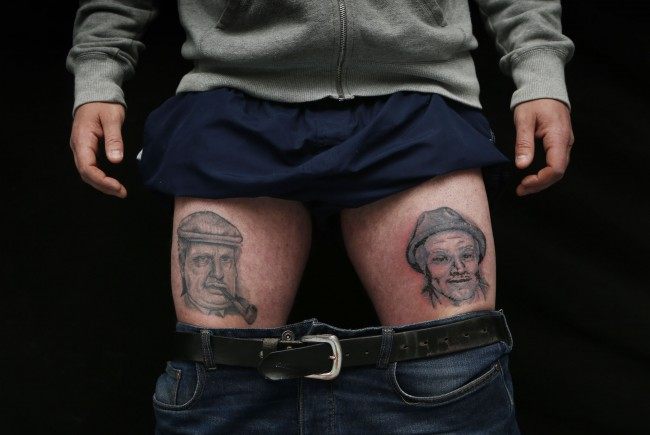 Ian Gentles displays his tattoos depicting Still Game characters Jack and Victor