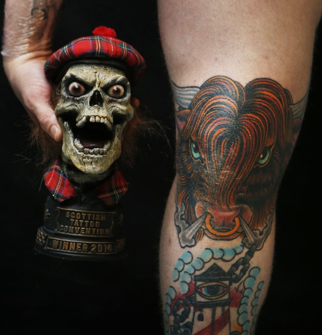 A Highland Cow tattoo, winner of the Scottish themed tattoo competition at the 4th annual Scottish Tattoo Convention at the Corn Exchange in Edinburgh.