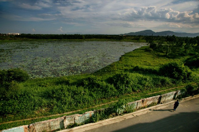 *A woman walks next to a highly contaminated pond around the grounds of the Danang airbase in Danang, Vietnam, int this May 21, 2007, file photo. More than 30 years after the Vietnam War ended, the poisonous legacy of Agent Orange has emerged anew with a scientific study that has found extraordinarily high levels of health-threatening contamination at the former U.S. air base at Danang.
