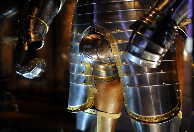 A detail showing the groin defence on the Greenwich armour garniture, English, 1540 worn by mature Henry VIII.