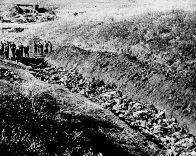 Part of the Babi Yar ravine on the outskirts of Kiev, Ukraine where the advancing Red Army unearthed the bodies of 14,000 civilians killed by fleeing Nazis, 1944.