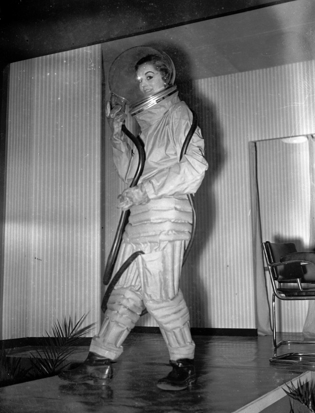 A space-suit for interplanetary travel being displayed at the Factory Equipment Exhibition, Protective Clothing section, at the New Agricultural Hall, London.