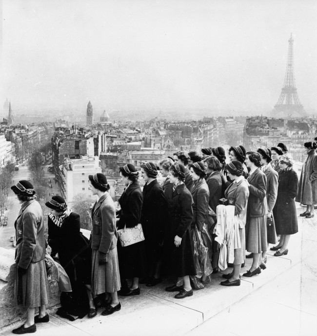 Girls from the Hutchinson Girls Grammar School in Glasgow admire the view of Paris from the top of the Arc de Triomphe.