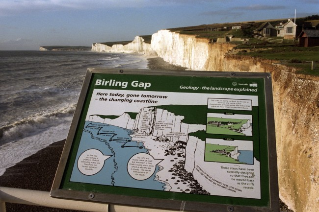 A MAP SHOWING THE DAMAGE CAUSED TO THE COASTLINE AT BIRLING GAP, SUSSEX, WHERE THE SEA IS ERODING THE CLIFFS AT THE RATE OF ONE METRE PER YEAR.  Ref #: PA.839081  Date: 01/01/1995