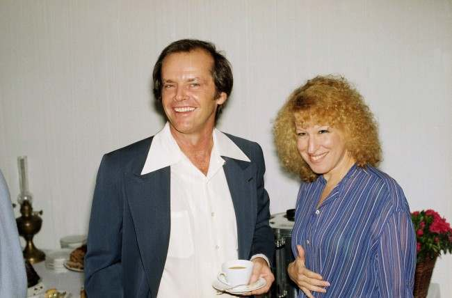 Singer Bette Midler with actor Jack Nicholson at an Equal Rights Amendment gathering at Joan Hackett's home in Beverly hills, Calif., March 1978.