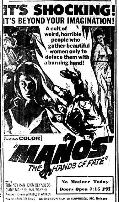 SC 03 ManosRestoration PremiereAd Exploring the IMDb Bottom 100: The Worst of The 1960s