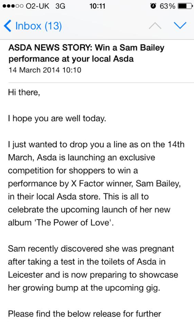 Screen shot 2014 03 14 at 10.15.15 X Factor Winners Watch: Sam Bailey Plays Asda Toilets In Leicester