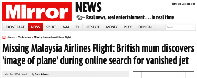Screen shot 2014 03 14 at 22.38.34 Malaysia Airlines Flight MH370: Stolen By Pirates And Other Batshit Mental Theories In The British Tabloids