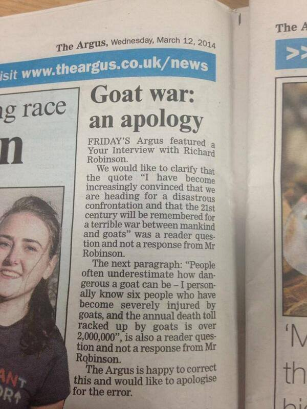 brighton goat war Regret The Error: Brighton Argus Apologises For The Coming Goat War